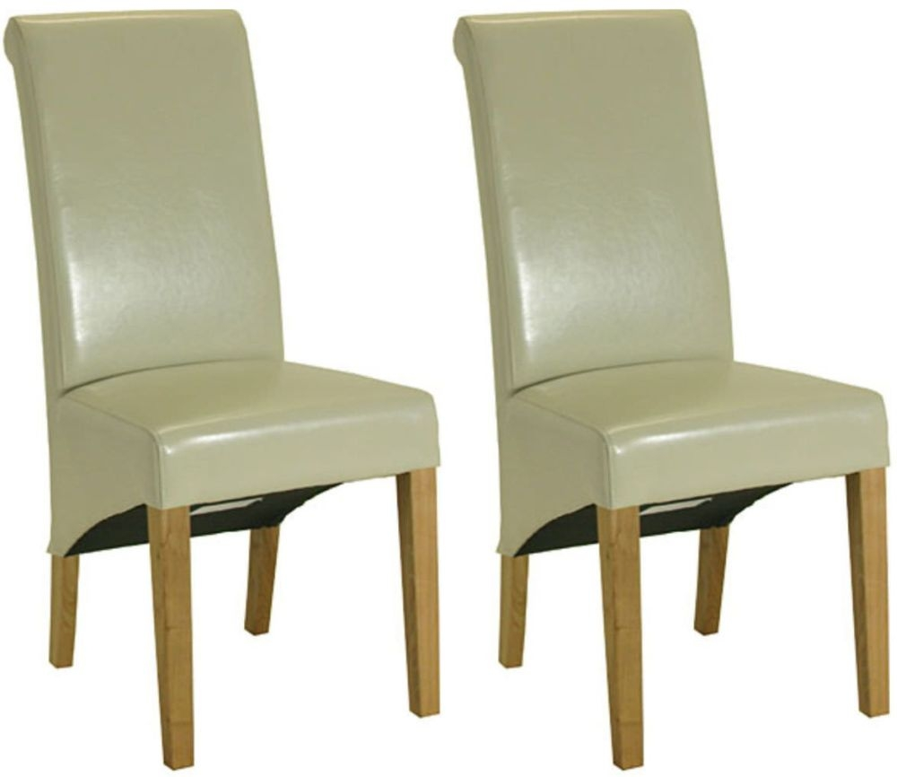 Essentials Oak Dining Chair - Cream Roll Top Leather (Pair)