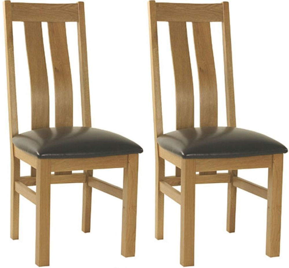 Essentials Oak Dining Chair - Curve Back with Faux Seat (Pair)