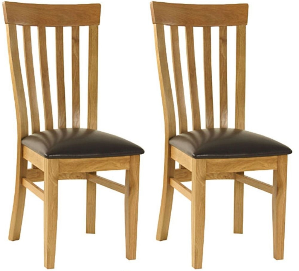 Essentials Oak Dining Chair - Slatback with Faux Seat (Pair)