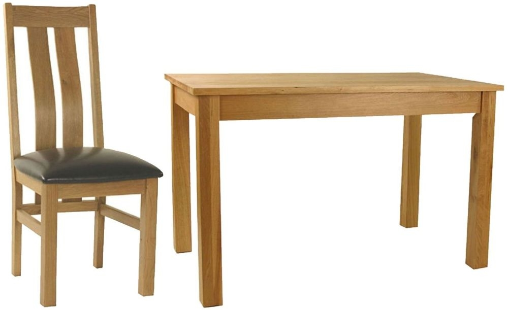 Essentials Oak Dining Set - Rectangular with 4 Curve Back with Faux Seat Chairs