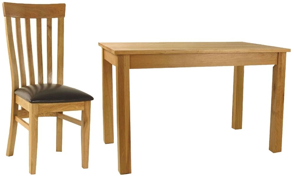 Essentials Oak Dining Set - Rectangular with 4 Slatback with Faux Seat Chairs