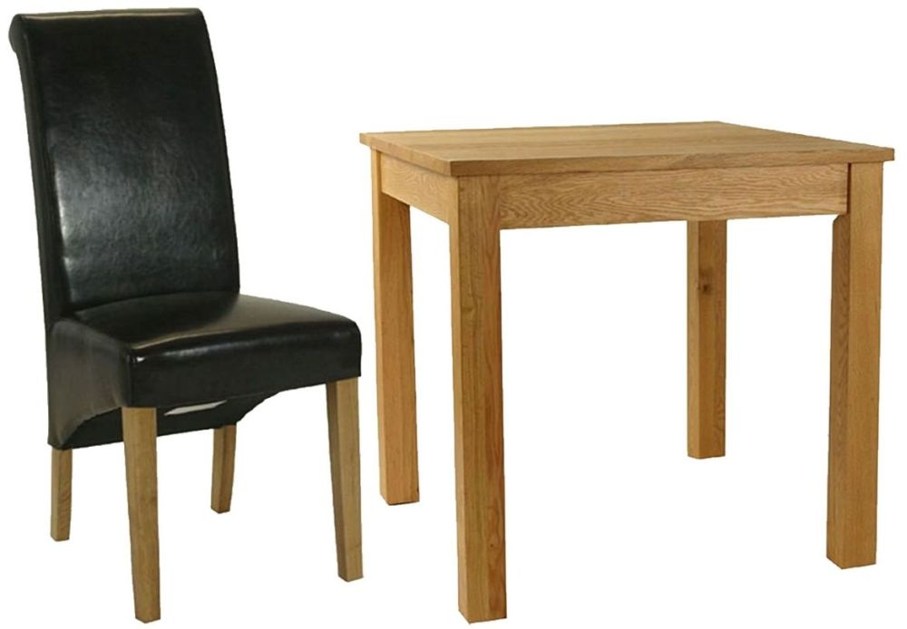 Essentials Oak Dining Set - Small Square with 4 Brown Roll Top Leather Chairs