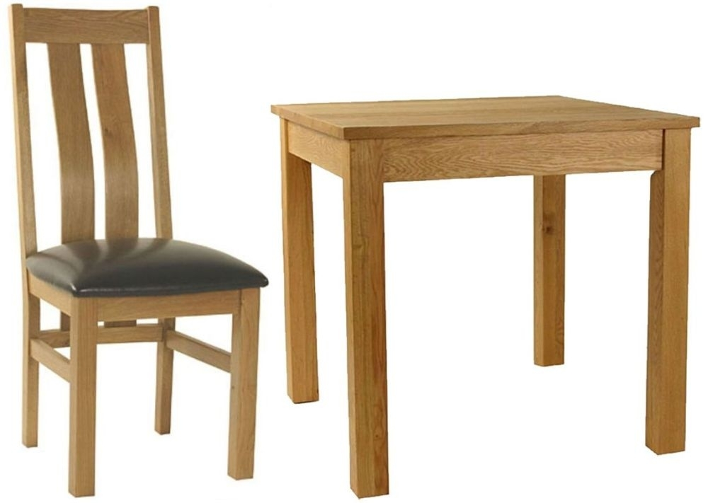 Essentials Oak Dining Set - Small Square with 4 Curve Back with Faux Seat Chairs