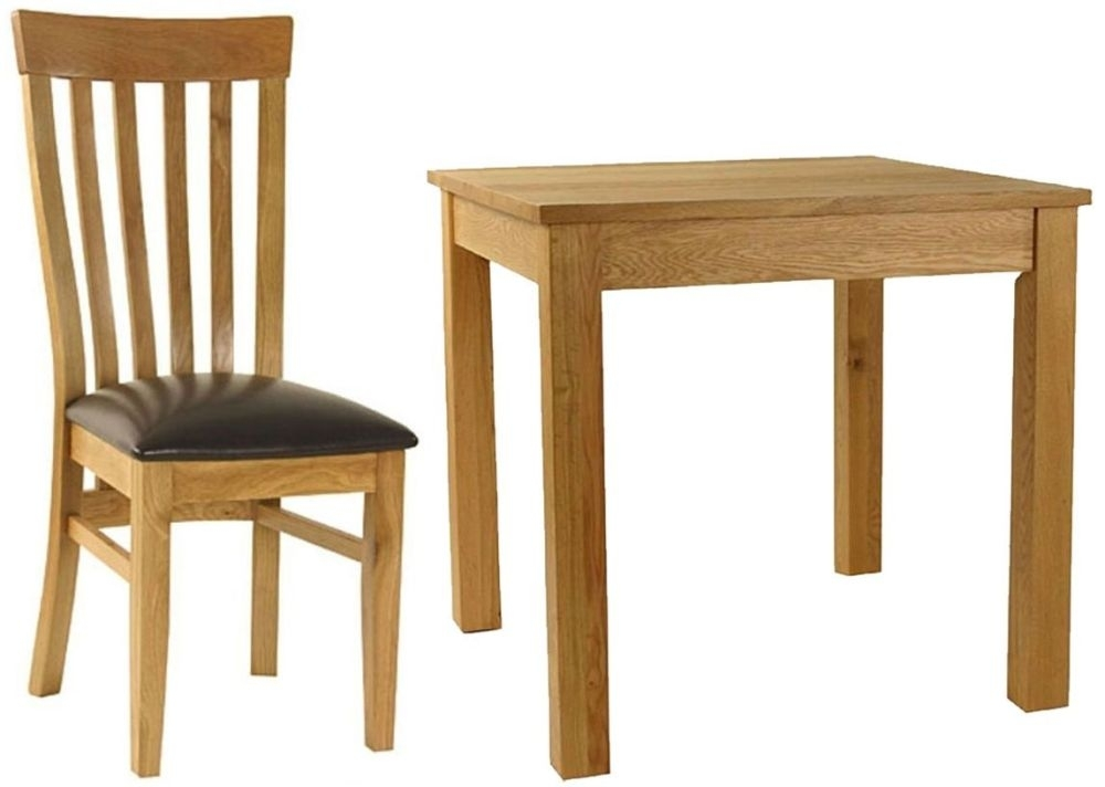 Essentials Oak Dining Set - Small Square with 4 Slatback with Faux Seat Chairs