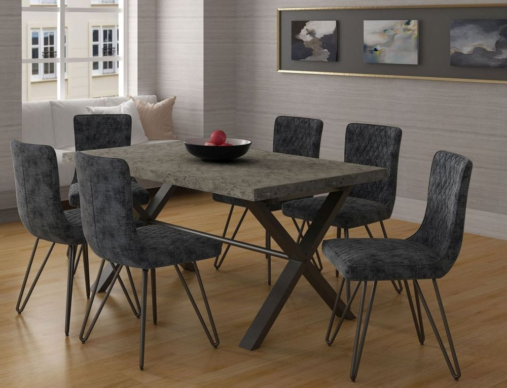 Fusion Stone Effect 190cm Dining Table and 6 Chairs