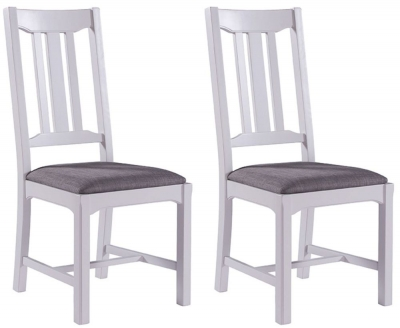 Georgia Grey Painted Slatted Back Dining Chair (Pair)