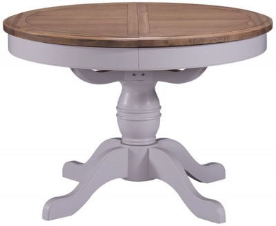 Georgia Oak and Grey Painted Round 110cm-145cm Extending Dining Table