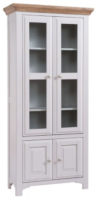 Georgia Large Display Cabinet - Oak and Grey Painted