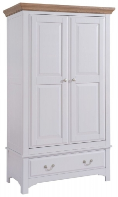 Georgia Oak and Grey Painted 2 Door 1 Drawer Wardrobe