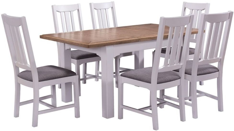 Georgia Extending Dining Table and 4 Chairs - Oak and Grey Painted