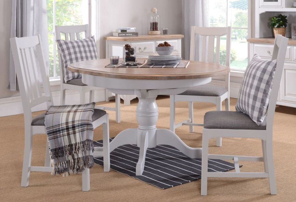 Georgia Round Pedestal Extending Dining Table and 4 Chairs - Oak and Grey Painted