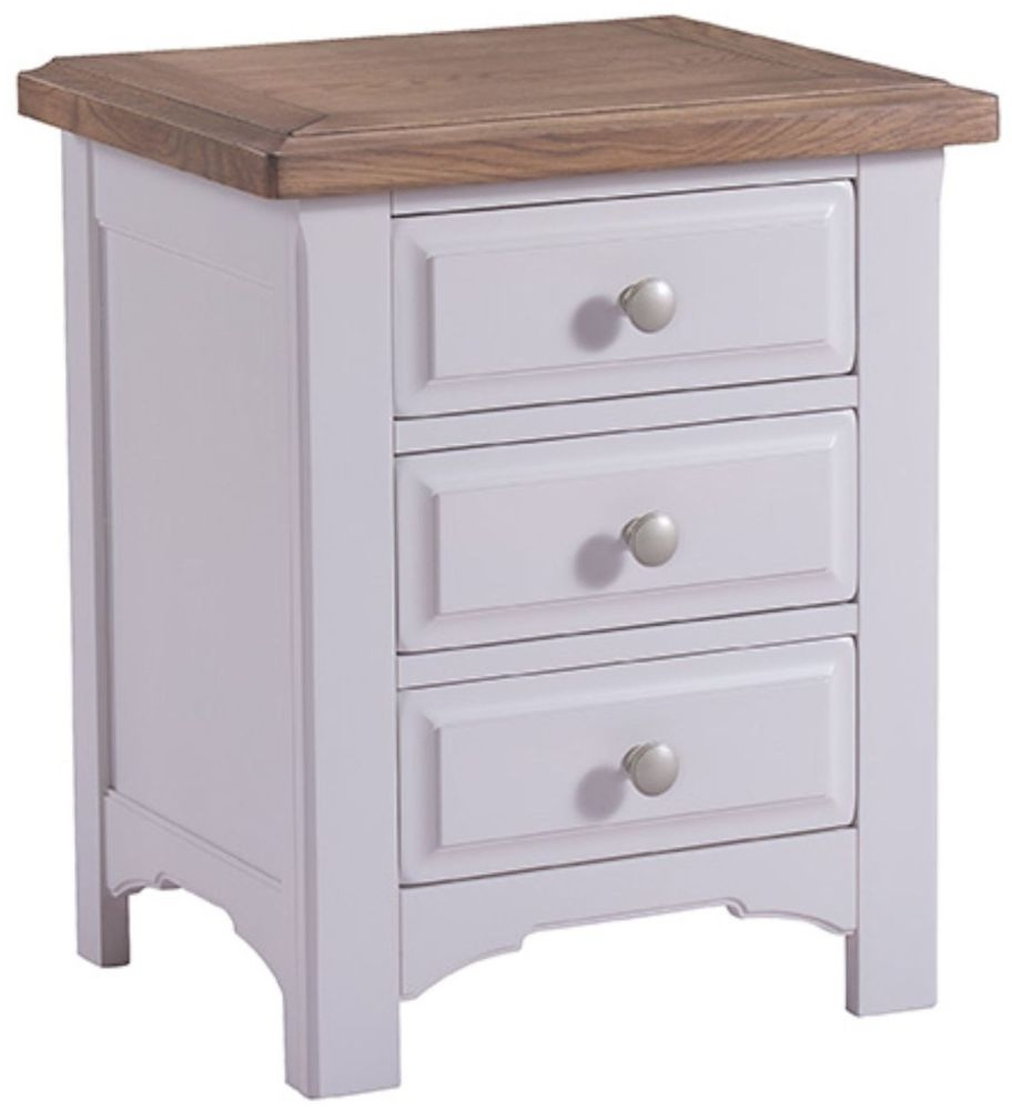 Georgia Grey Painted 3 Drawer Bedside Cabinet