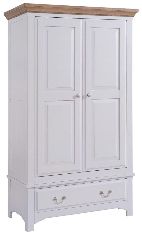 Georgia Oak and Grey Painted 2 Door 1 Drawer Wardrobe