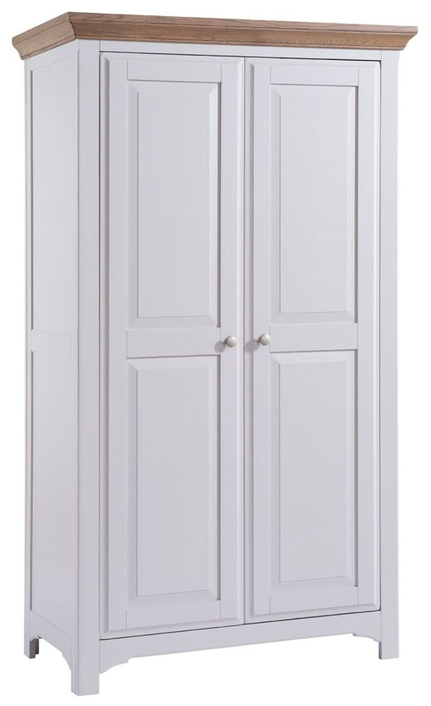 Georgia Grey Painted 2 Door Full Hanging Double Wardrobe