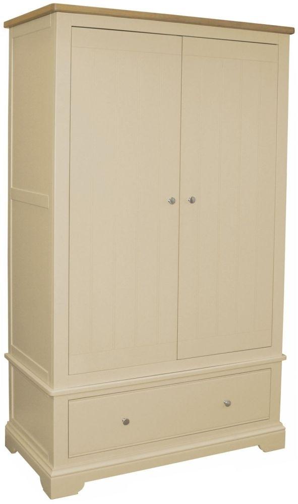 Harmony Cobblestone Oak and Painted 2 Door 1 Drawer Wardrobe