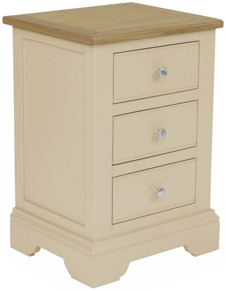 Harmony Cobblestone Oak and Painted 3 Drawer Bedside Cabinet