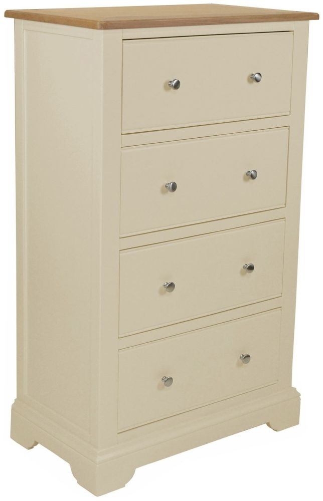 Harmony Cobblestone Oak and Painted 4 Drawer Tall Chest