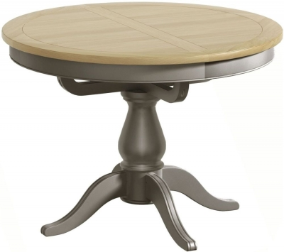 Harmony Oak and Grey Painted Round 110cm-145cm Extending Dining Table