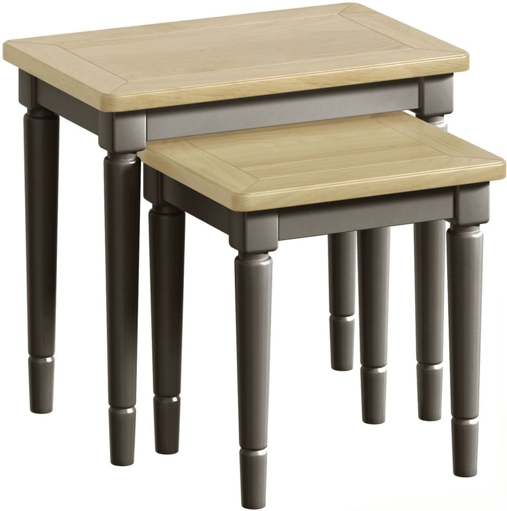 Harmony Oak and Grey Painted Nest of Tables