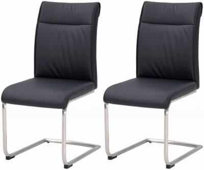 Industrial Faux Leather Black High Back Dining Chair (Pair)