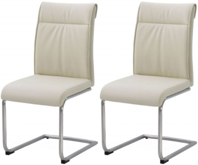 Industrial Faux Leather Cream High Back Dining Chair (Pair)