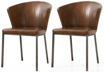 Industrial Faux Leather Retro Curve Dining Chair (Pair)