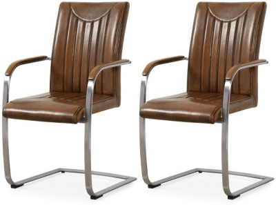 Industrial Faux Leather Retro Stitch Dining Armchair (Pair)