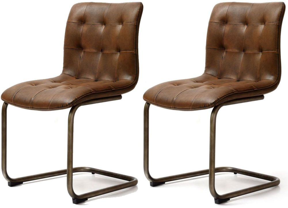 Buy Industrial Faux Leather Button Back Dining Chair Pair Online - Leather dining chairs uk