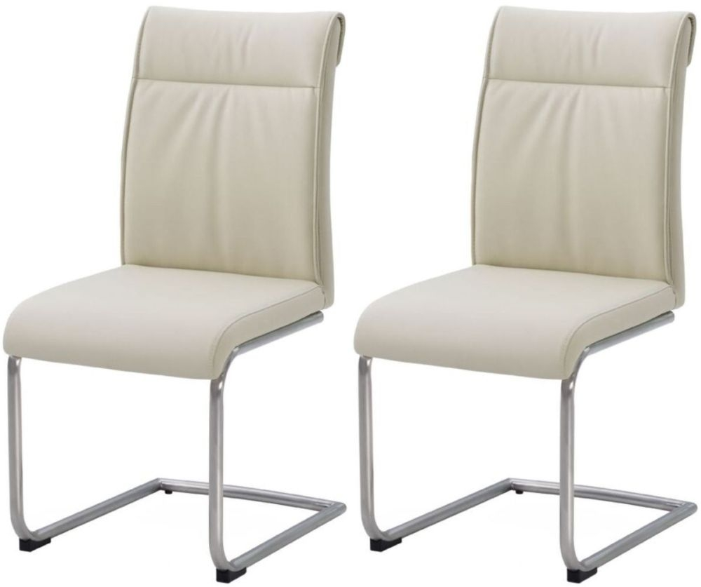 buy industrial faux leather cream high back dining chair pair