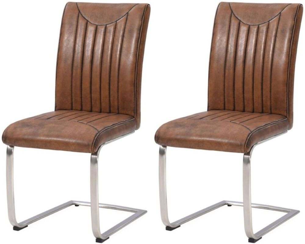 Industrial Faux Leather Vintage Retro Stitch Dining Chair (Pair)