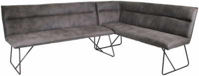 Larson Grey Faux Leather Right Hand Facing Corner Bench Set