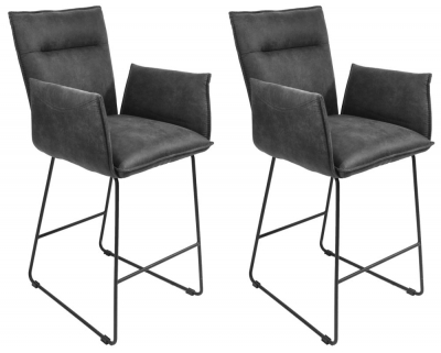 Larson Grey Suede Bar Stool with Arms (Pair)