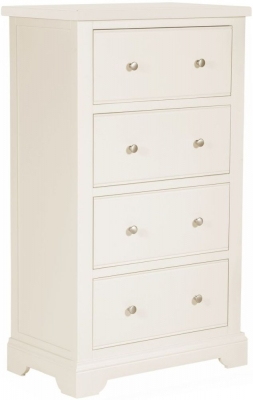 Lily White Painted 4 Drawer Tall Chest