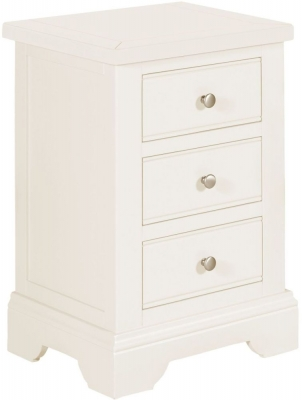 Lily White Painted 3 Drawer Bedside Cabinet