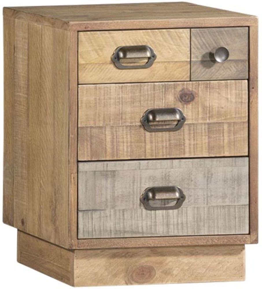 Loft Reclaimed Pine Bedside Cabinet with Plinth - 4 Drawer