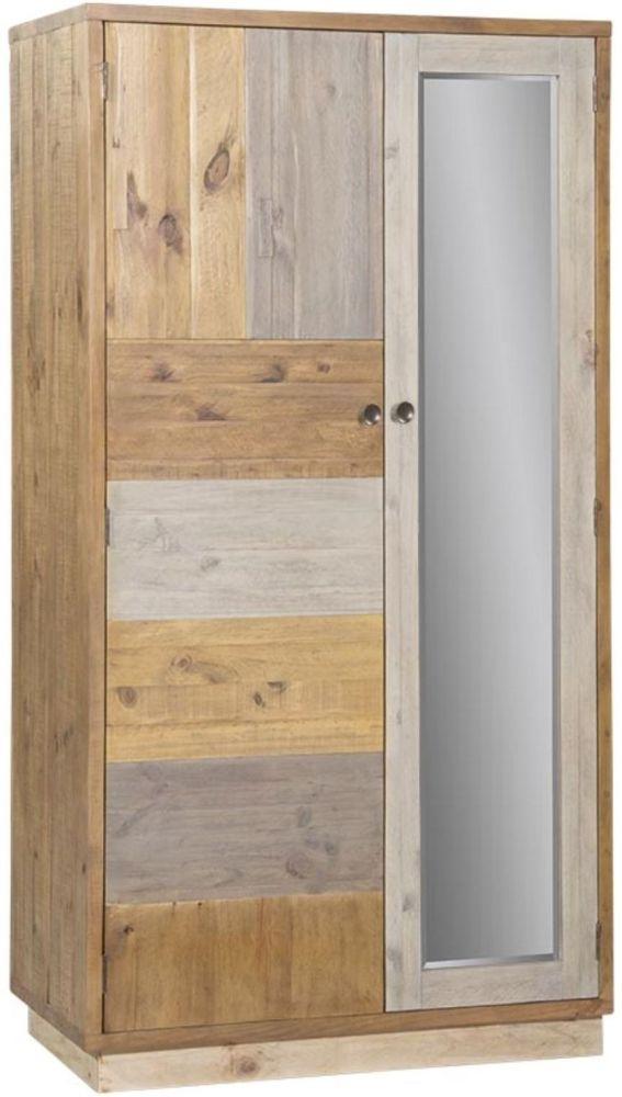 Loft Reclaimed Pine Wardrobe with Plinth - 2 Door Double