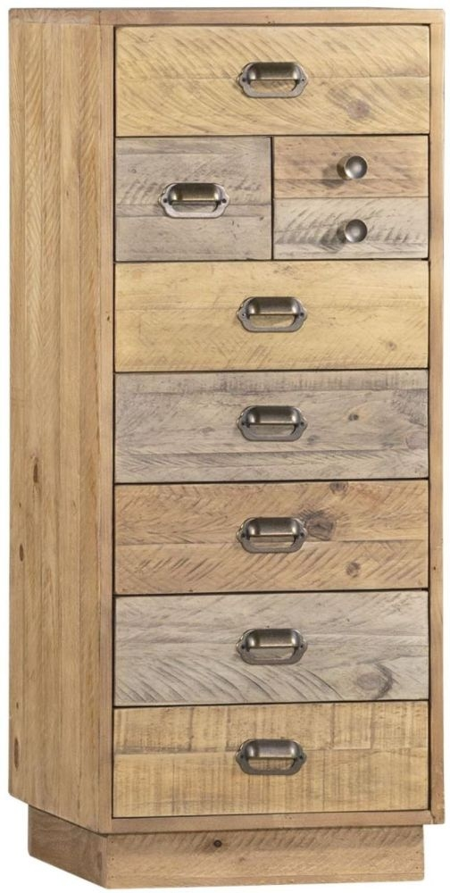Loft Reclaimed Pine Wellington 8 Drawer Tall Chest with Plinth