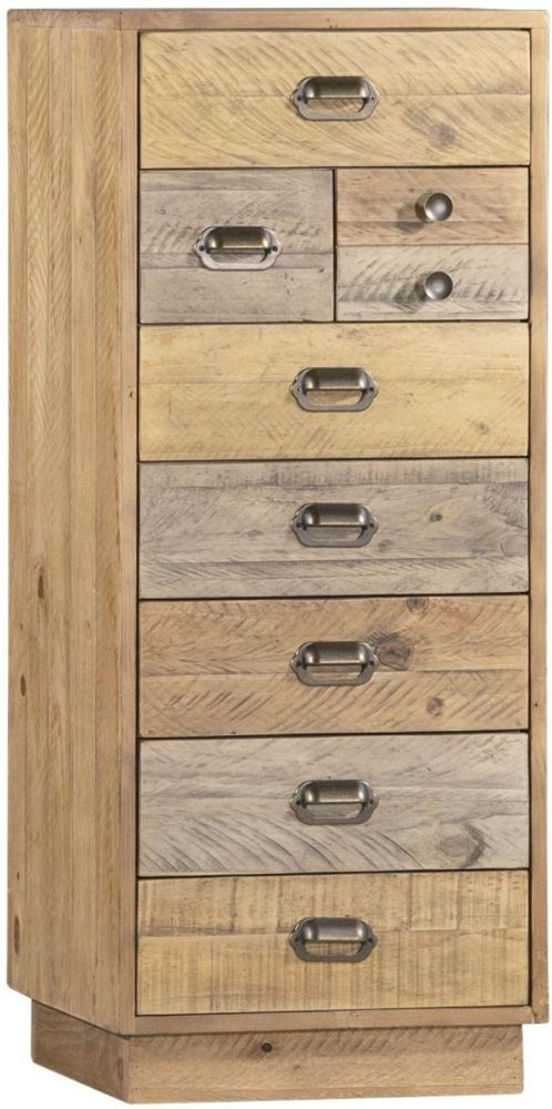 Loft Reclaimed Pine 8 Drawer Tall Chest with Plinth