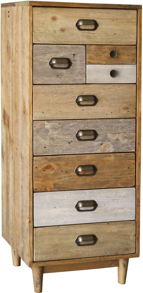 Loft Reclaimed Pine 8 Drawer Tall Chest