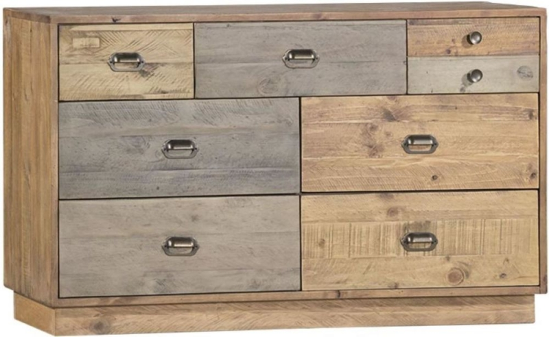 Loft Reclaimed Pine 7 Drawer Wide Chest with Plinth Base