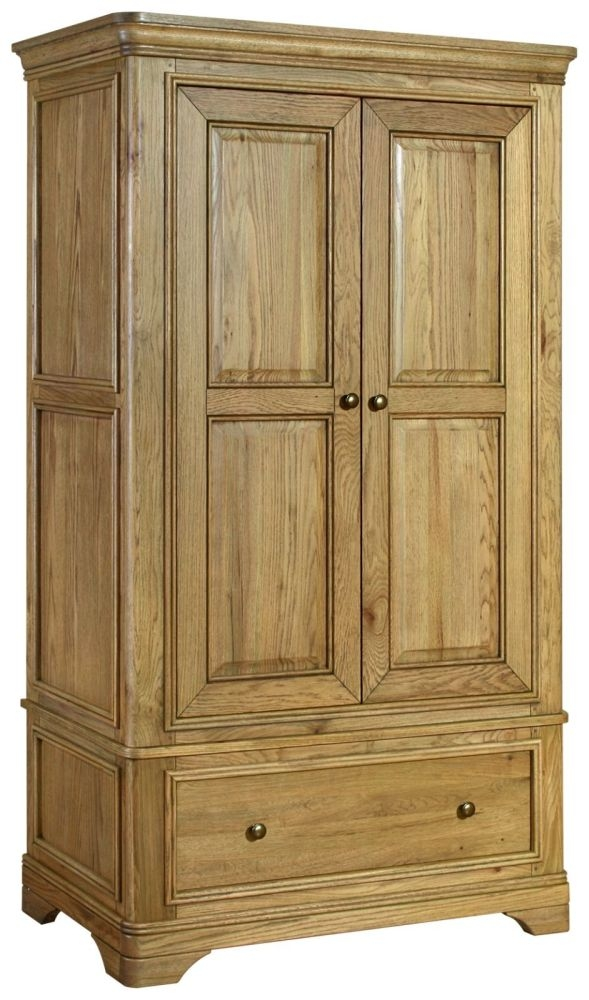 Loire Oak Wardrobe with Drawer - 2 Door 1 Drawer Double