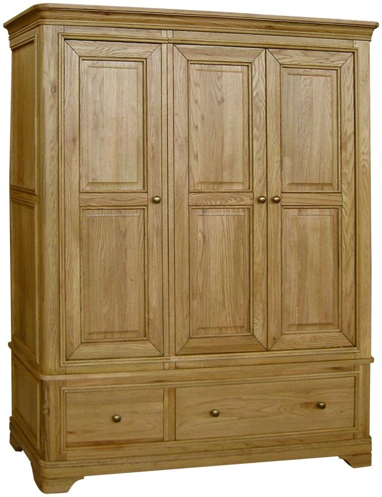 Loire Oak Wardrobe with Drawer - 3 Door 2 Drawer Triple
