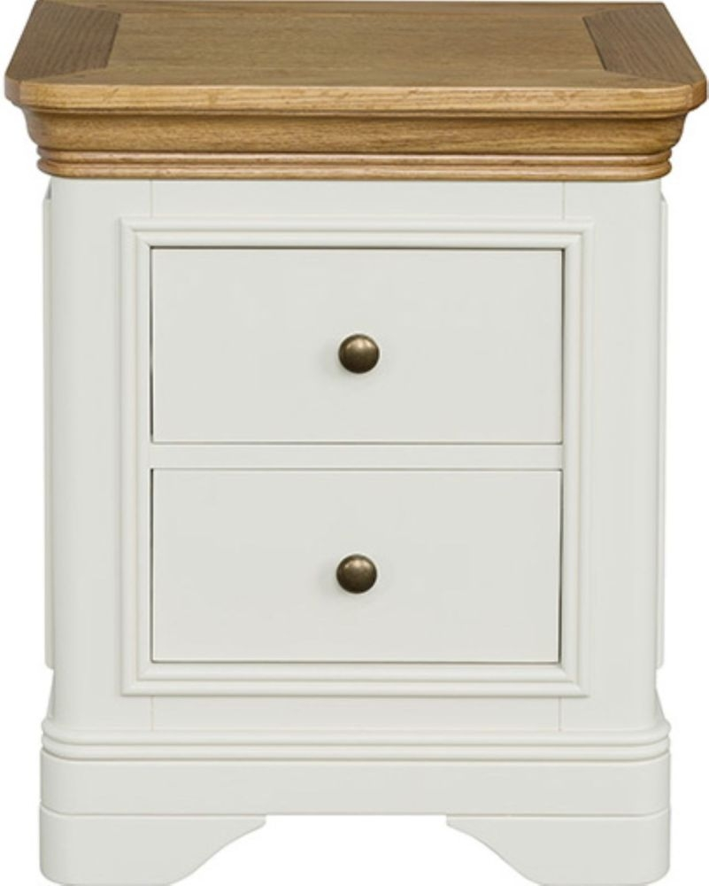 Loire Oak Painted 2 Drawer Bedside Cabinet