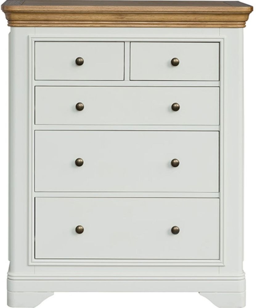 Loire Oak Painted Chest of Drawer - 2 Over 3 Drawer