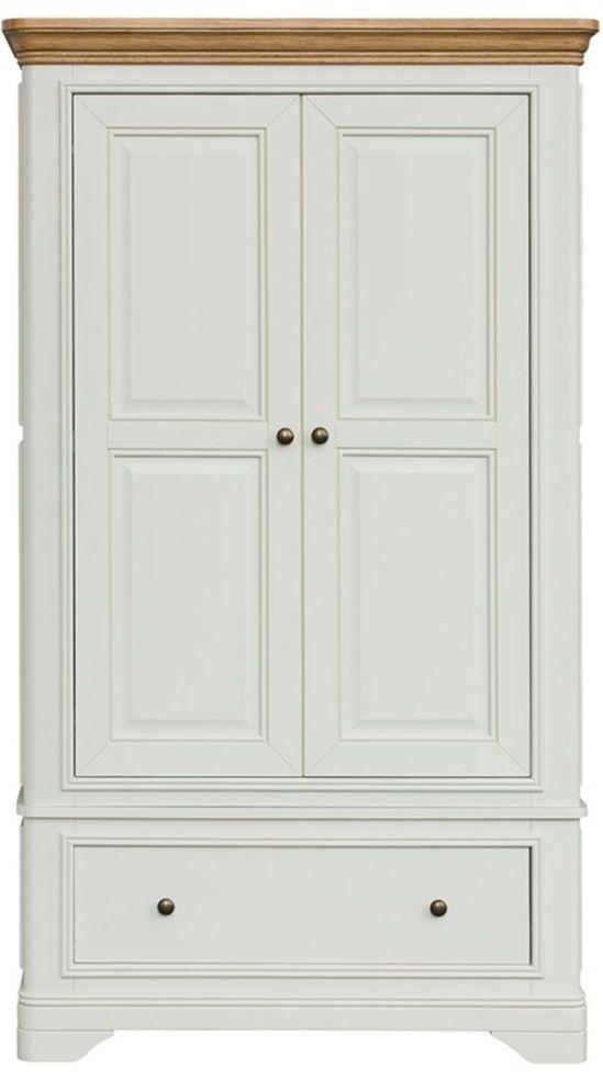 Loire Oak Painted 2 Door 1 Drawer Gents Double Wardrobe