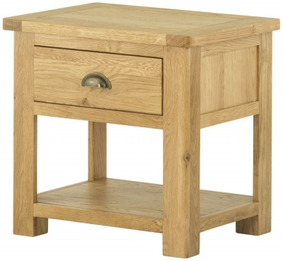 Lundy Oak Lamp Table with Drawer