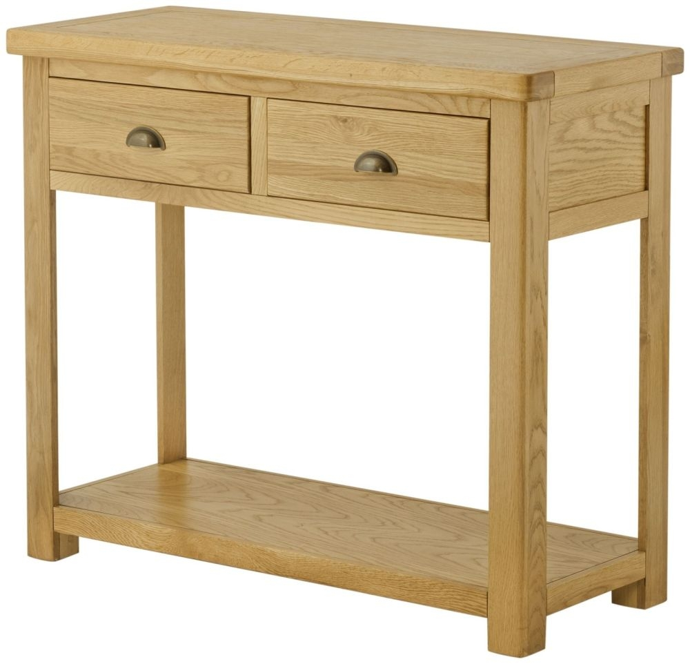 Lundy Oak Console Table - 2 Drawer