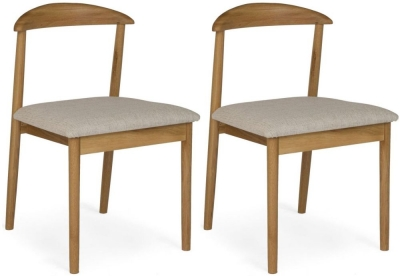 Malmo Oak Pearl Fabric Dining Chair (Pair)