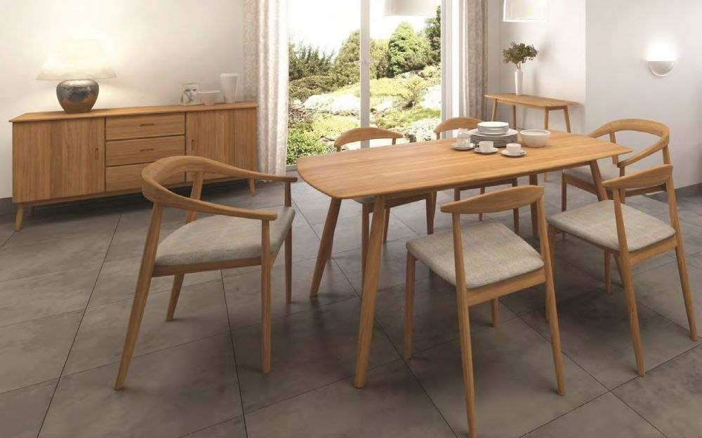 Malmo Oak Rectangular Dining Set with 4 Pearl Fabric Dining and 2 Carver Chairs - 160cm
