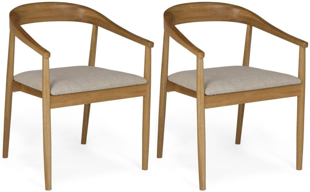 Malmo Oak Pearl Fabric Carver Chair (Pair)